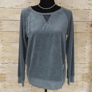 Two By Vince Camuto Gray Long Sleeve Velour Top